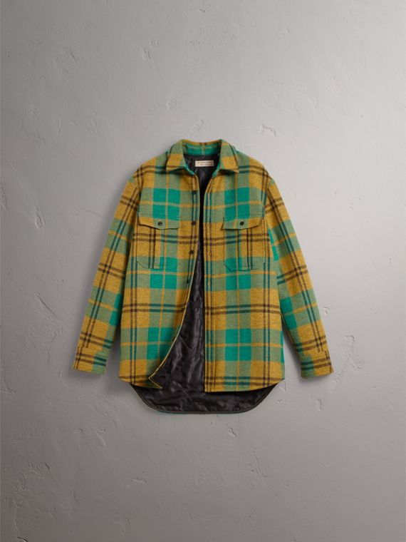 Quilt-lined Check Wool Cotton Blend Flannel Shirt in Amber Yellow - Men | Burberry - cell image 3