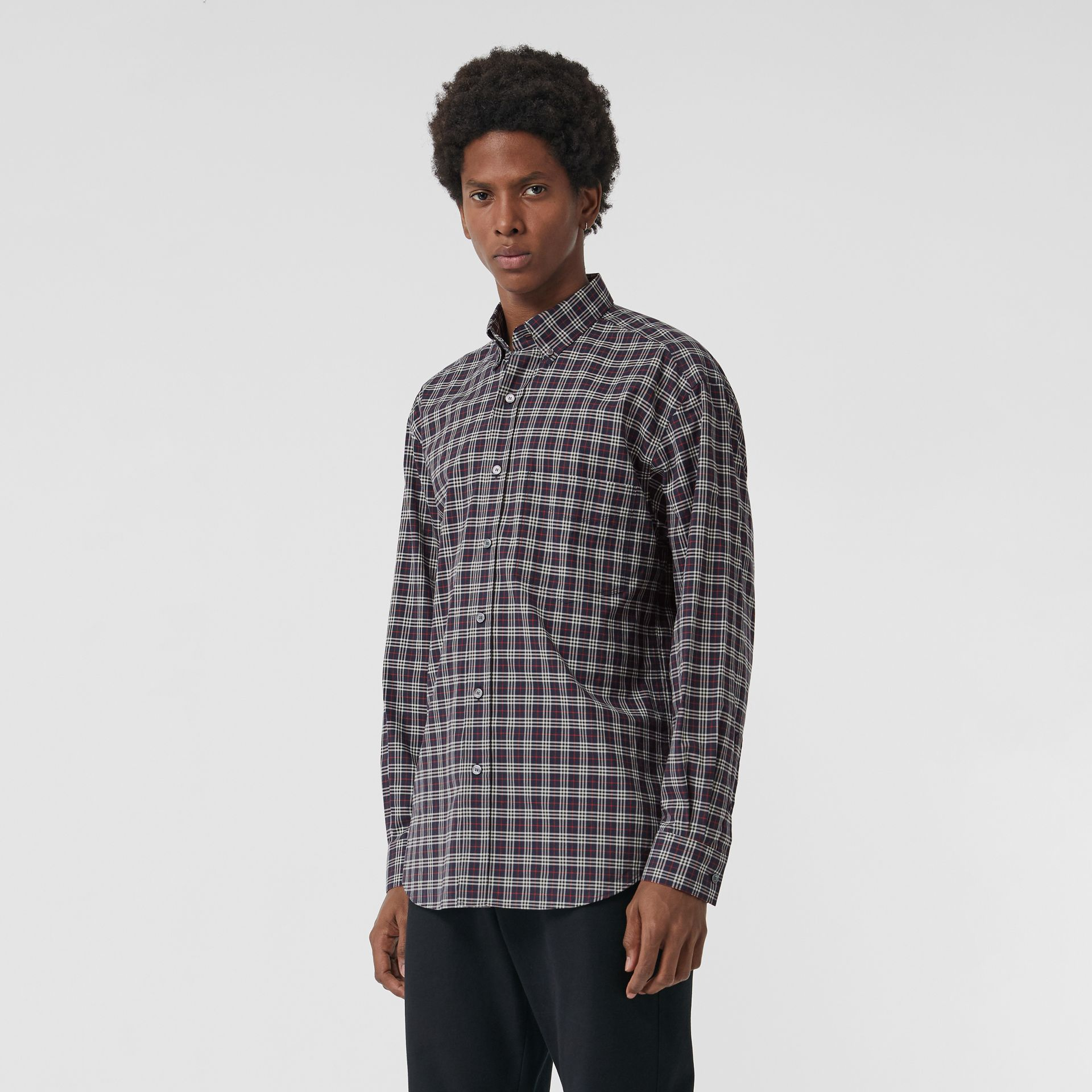 Small Scale Check Cotton Shirt in Navy - Men | Burberry Canada - gallery image 0