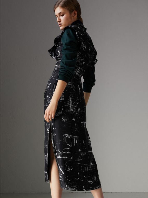 Ruffle Detail Landmark Print Silk Dress in Black - Women | Burberry United States - cell image 2