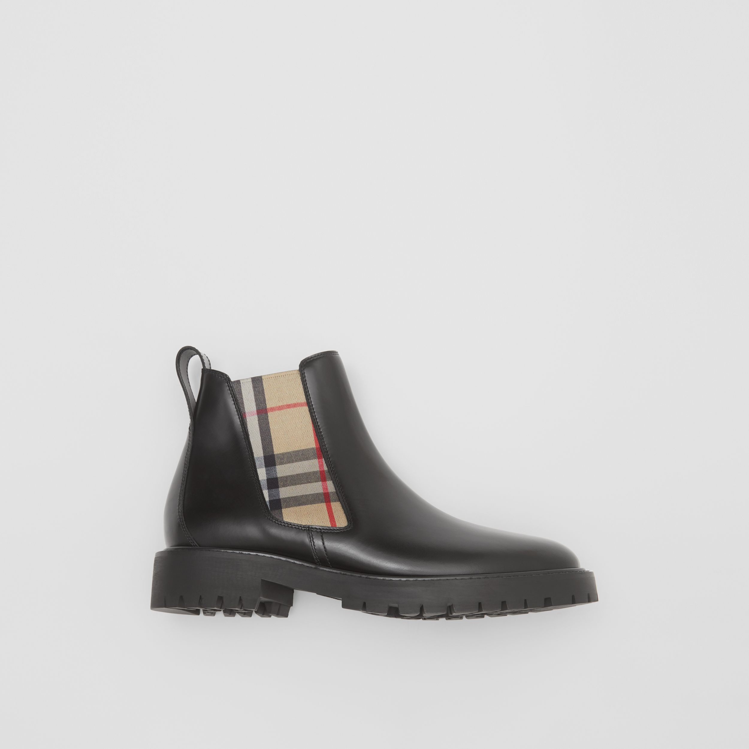 Vintage Check Detail Leather Chelsea Boots in Black - Women | Burberry - 1