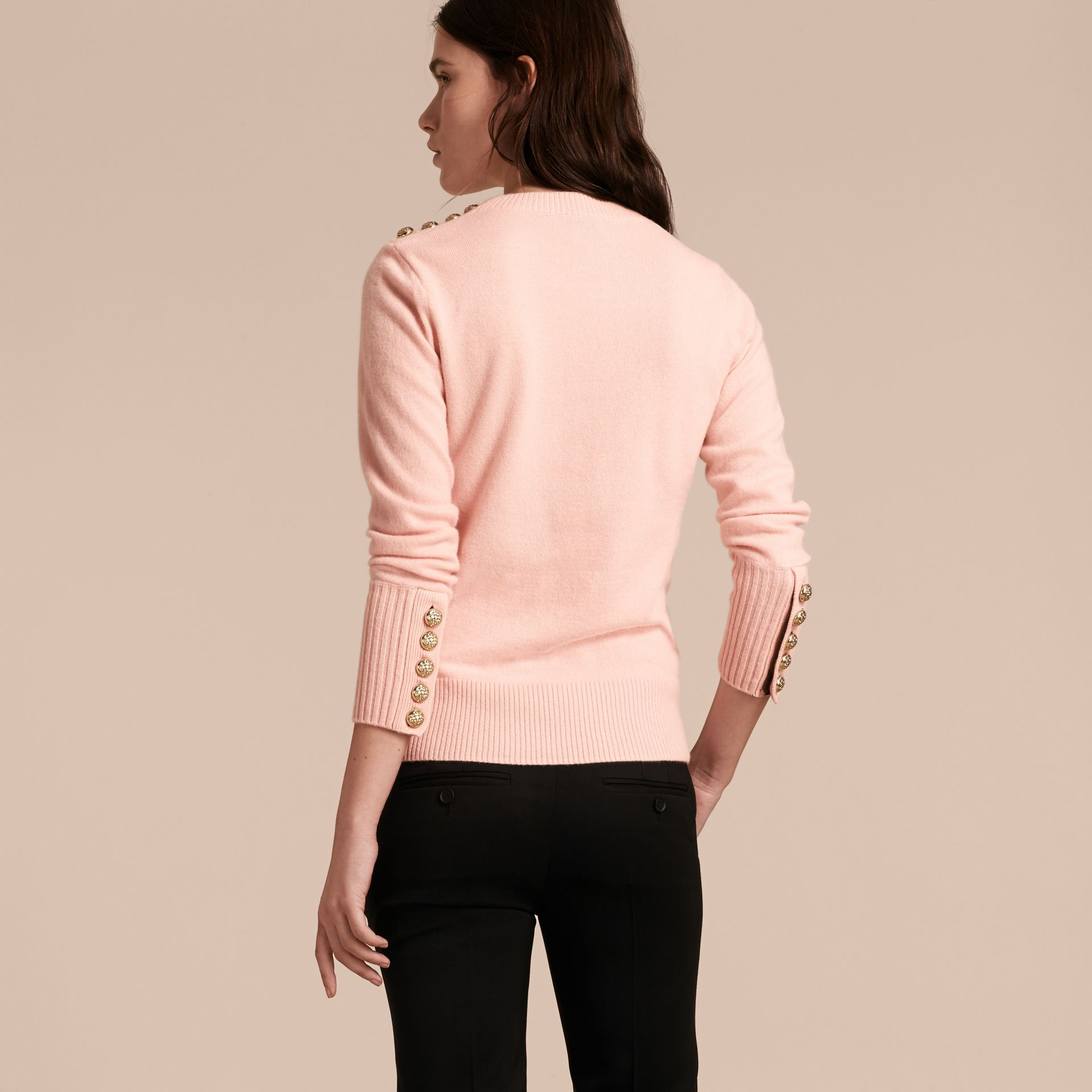 Cashmere Sweater with Crested Buttons in Blossom - gallery image 3