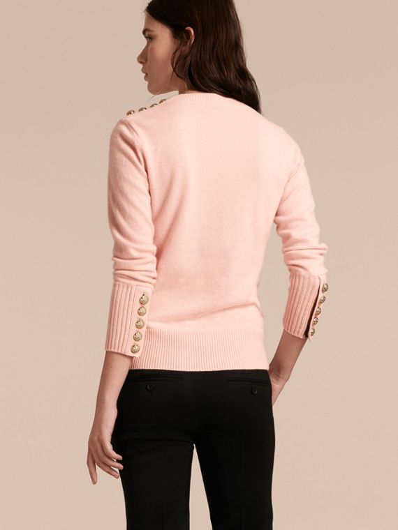 Cashmere Sweater with Crested Buttons in Blossom - cell image 2