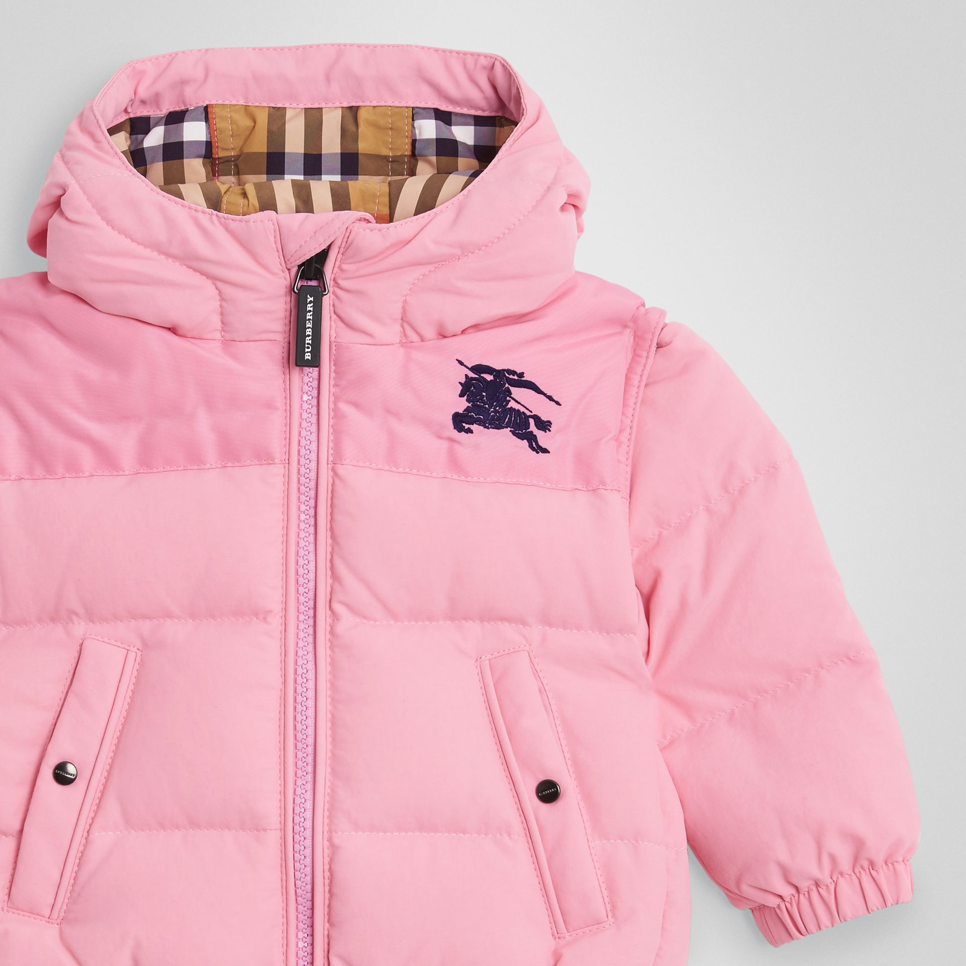 Down-filled Hooded Puffer Jacket in Ice Pink - Children | Burberry United Kingdom - gallery image 4