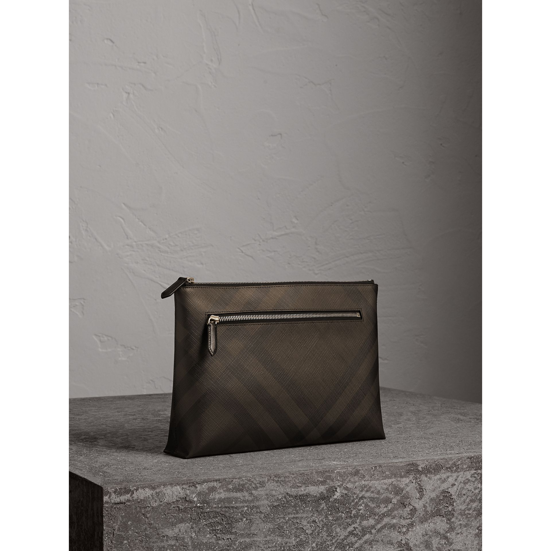 Large London Check Zip Pouch in Chocolate/black - Men | Burberry - gallery image 6