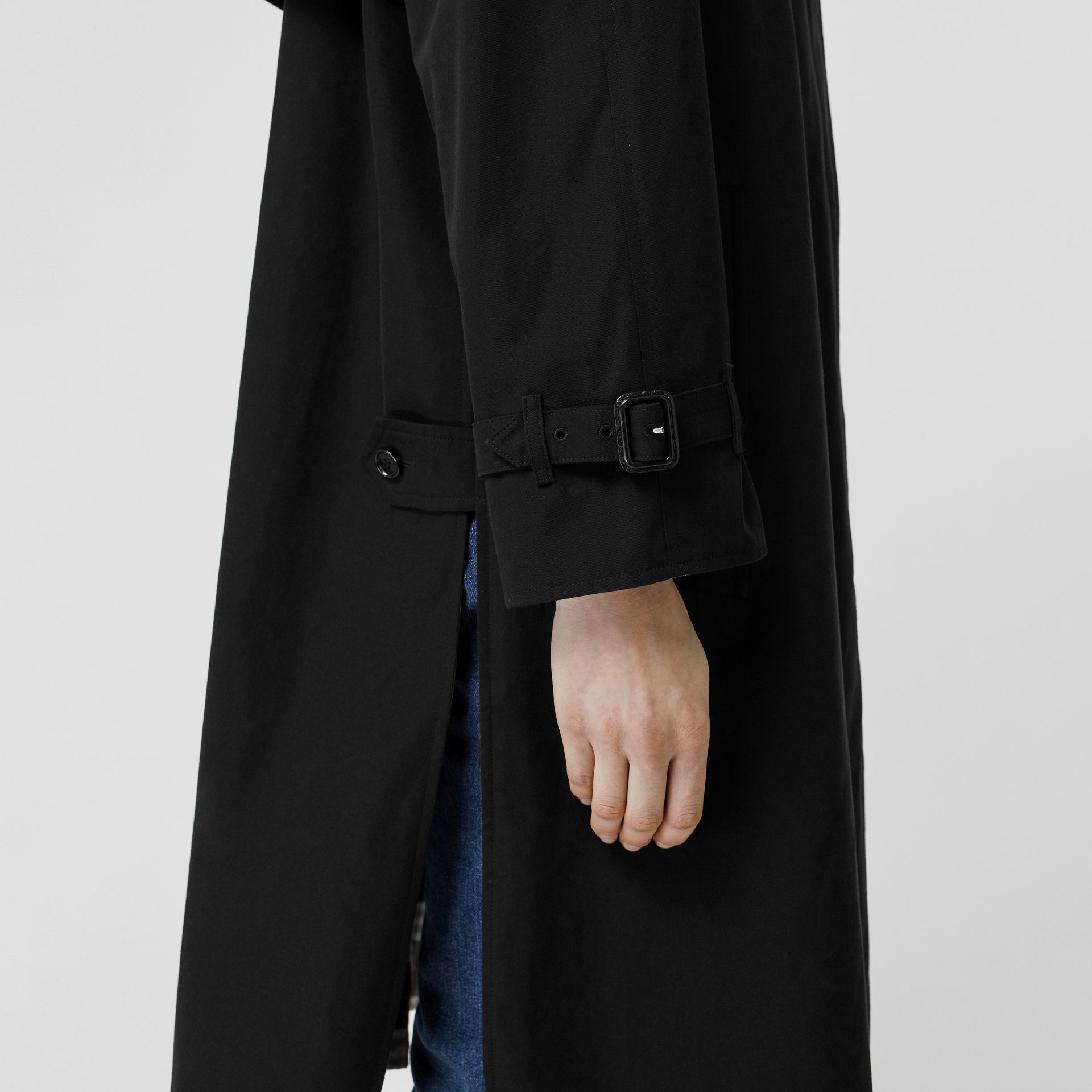 Detachable Hood Tropical Gabardine Car Coat in Black - Women | Burberry United States - gallery image 5