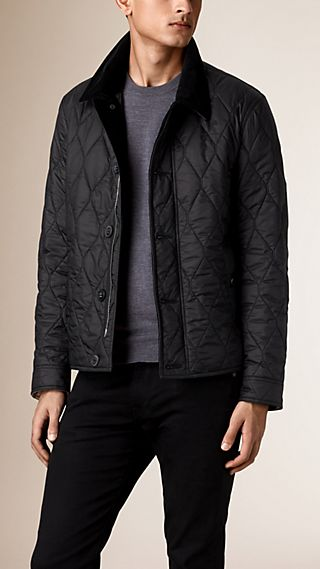 Check Detail Short Quilted Jacket with Corduroy Collar