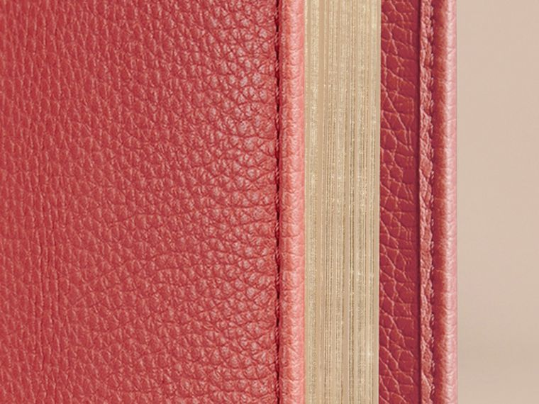 Grainy Leather A5 Notebook in Orange Red | Burberry United Kingdom - cell image 1