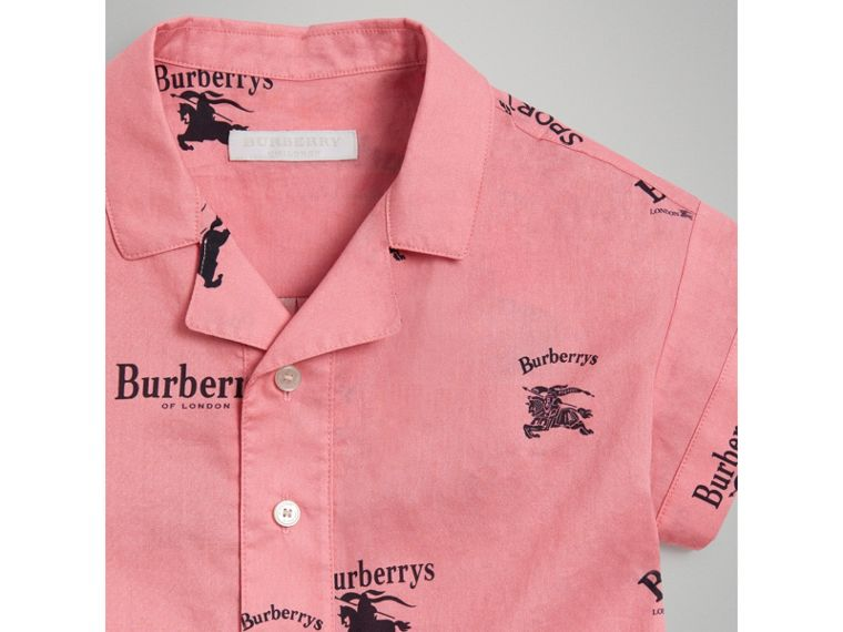 Short-sleeve Archive Logo Print Cotton Shirt in Rose Pink - Girl | Burberry - cell image 4