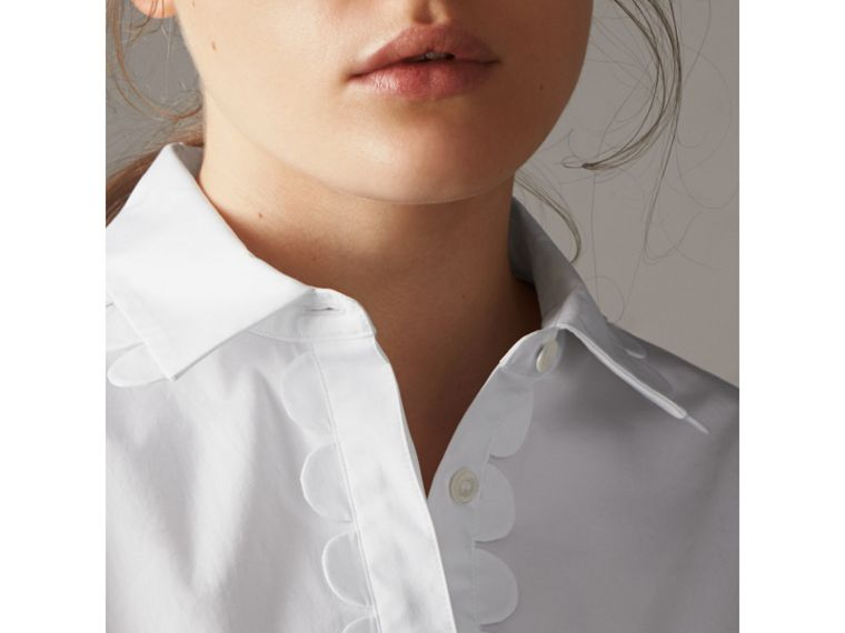 Scalloped Stretch Cotton Shirt - Women | Burberry - cell image 4