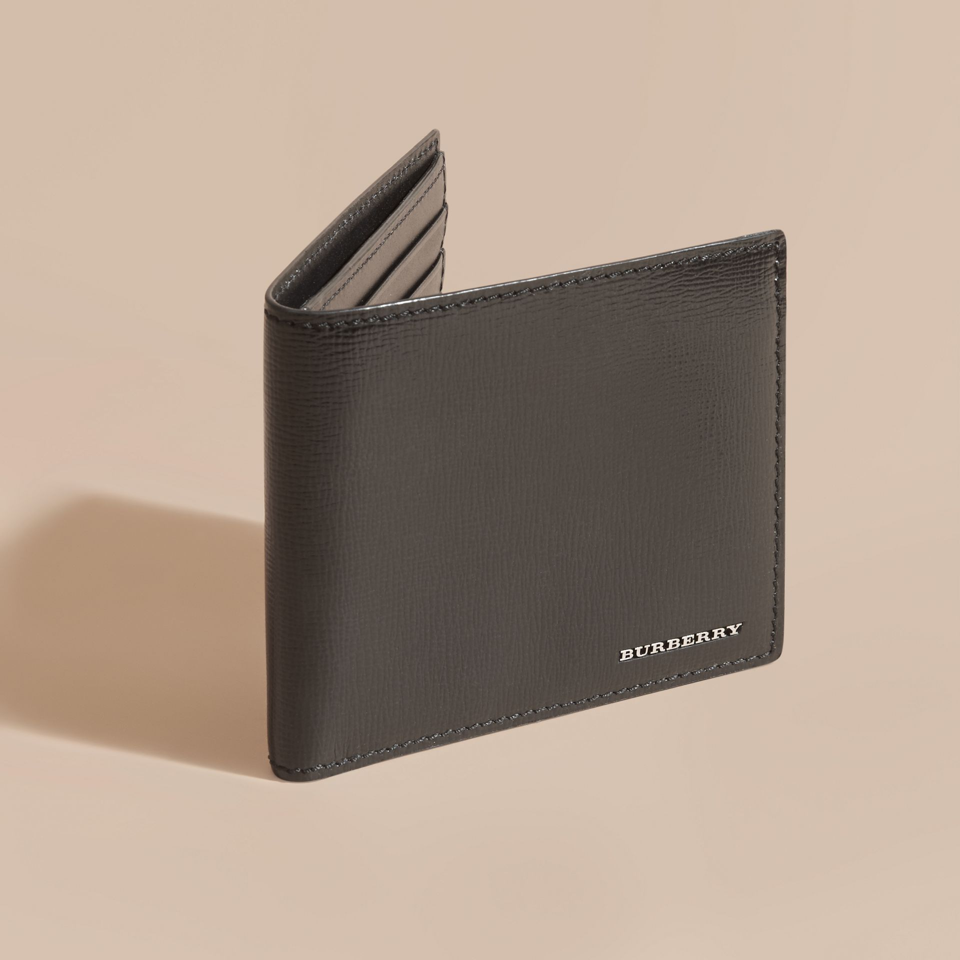 Black London Leather Folding Wallet Black - gallery image 6
