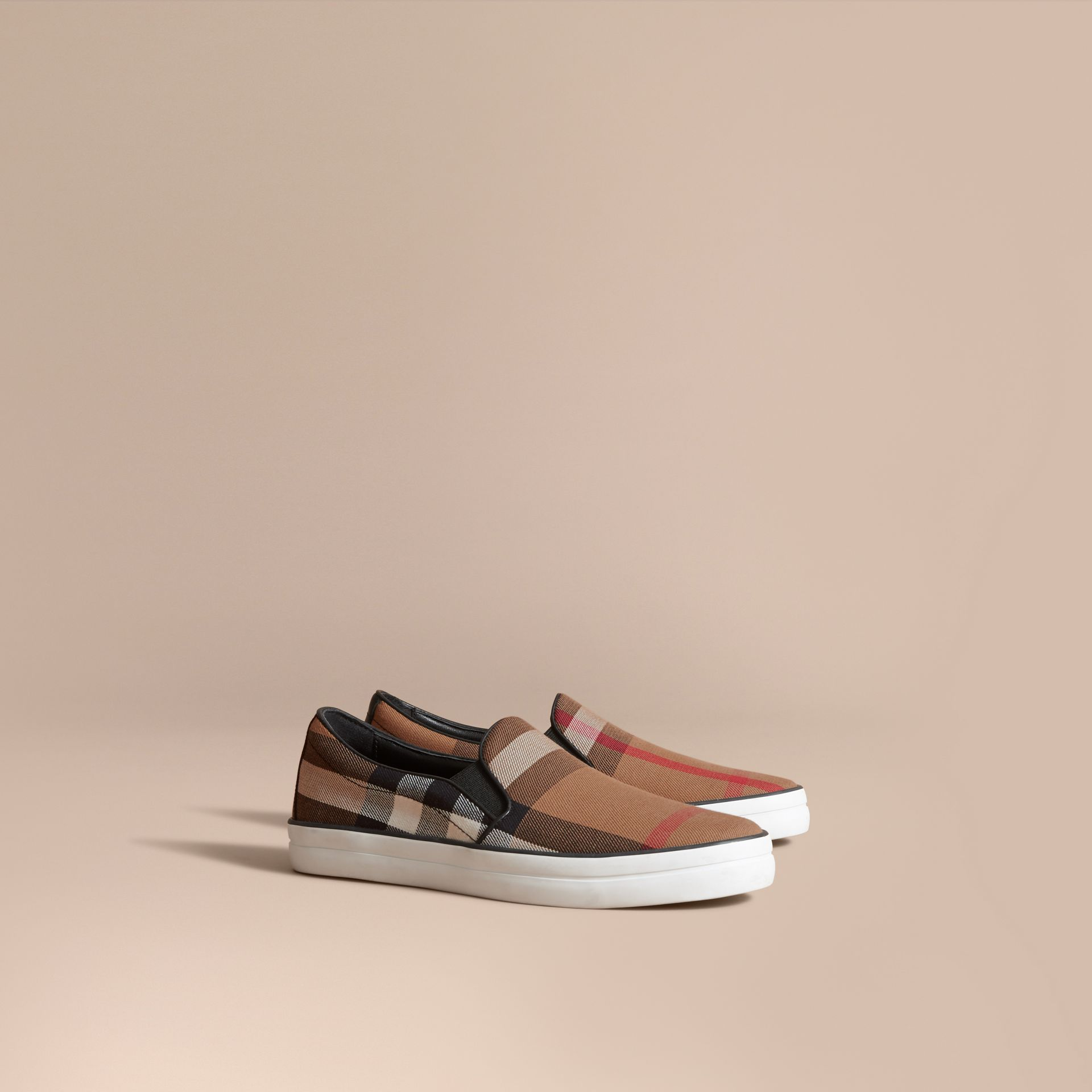 House Check and Leather Slip-on Sneakers in Classic - Women | Burberry Singapore - gallery image 0