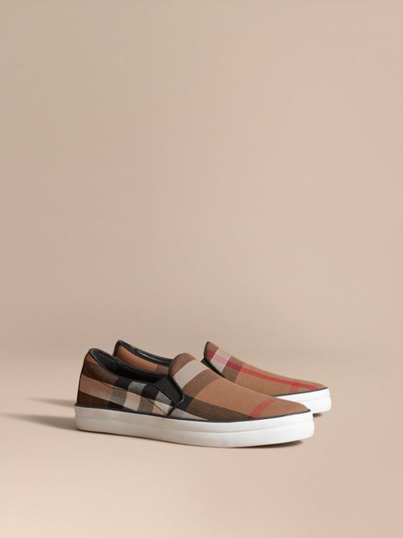 House Check Cotton and Leather Slip-on Trainers