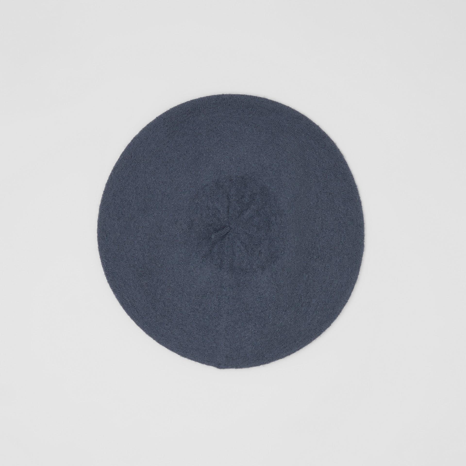 Logo Graphic Merino Wool Beret in Navy Stone | Burberry - gallery image 4