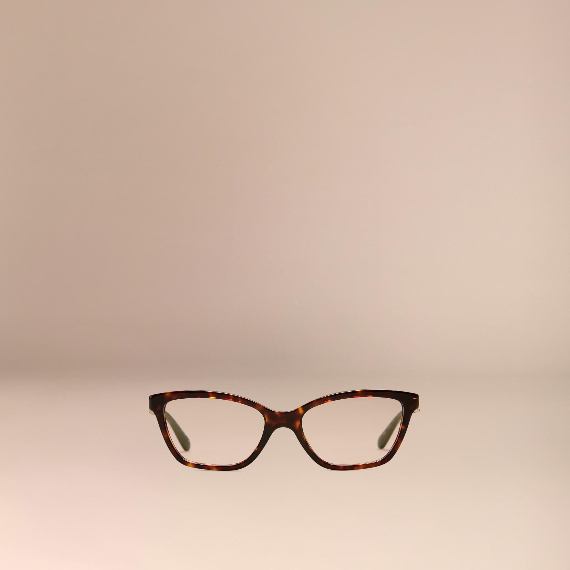 Écaille de tortue Monture œil de chat pour lunettes de vue à motif check Écaille  Tortue - photo de la galerie 2