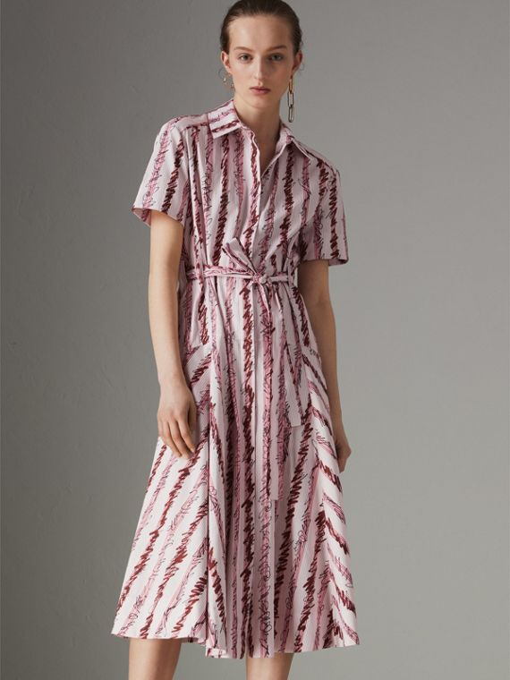 Scribble Stripe Cotton Shirt Dress in Light Pink