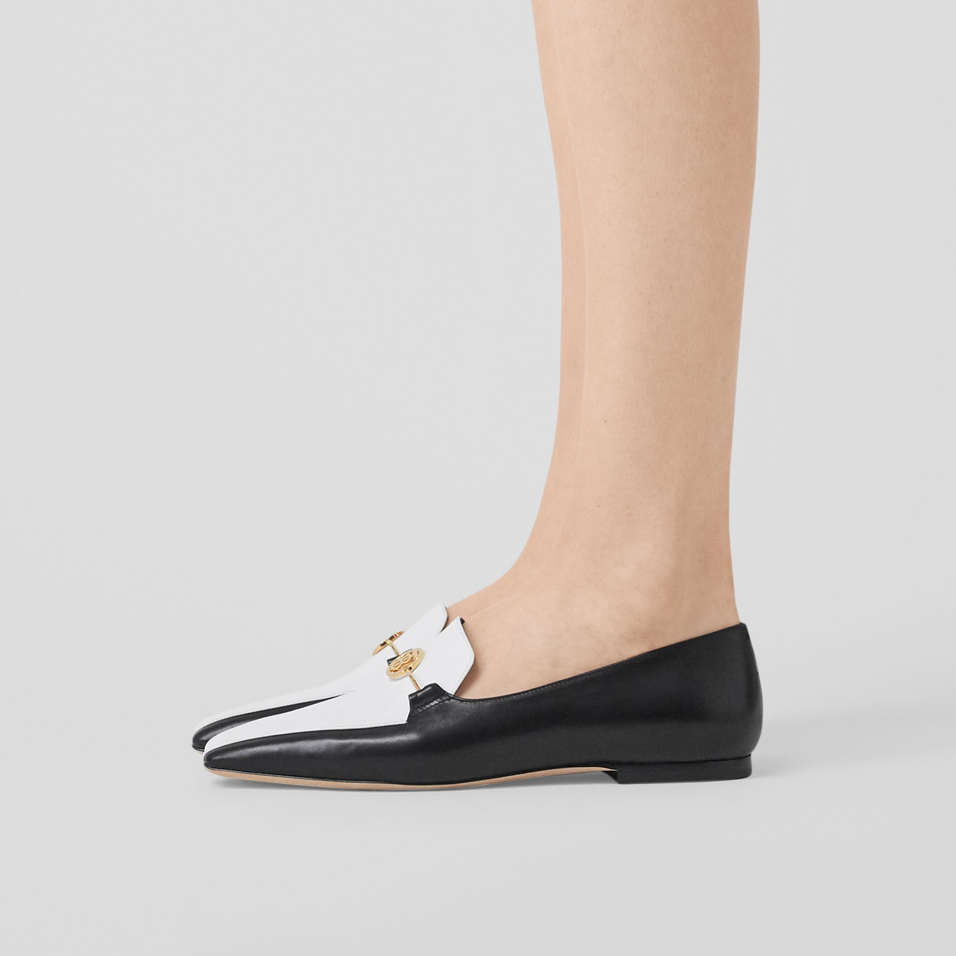 Monogram Motif Two-tone Leather Loafers in Black/white - Women | Burberry United States - gallery image 2