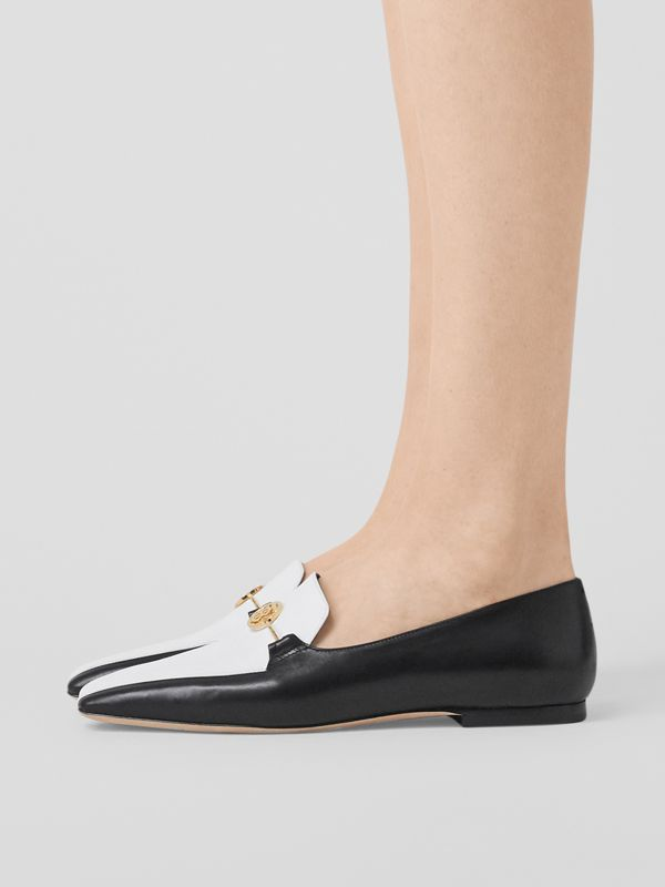 Monogram Motif Two-tone Leather Loafers in Black/white - Women | Burberry - cell image 2