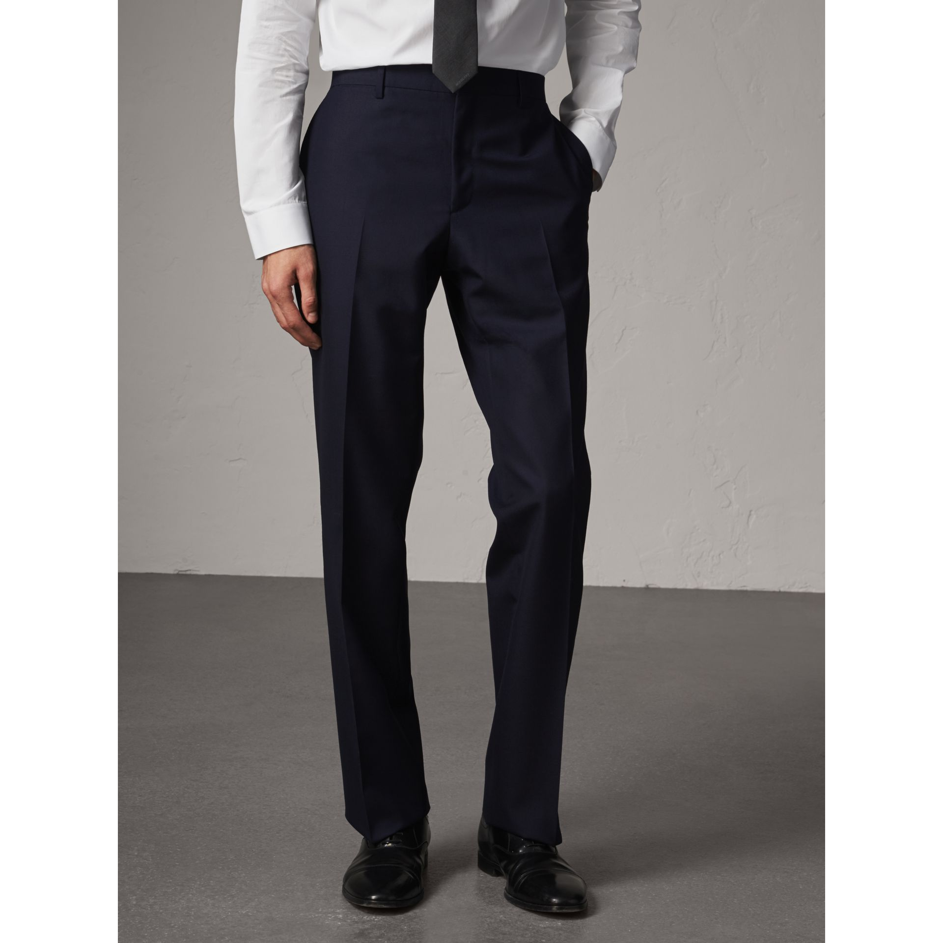 Classic Fit Wool Part-canvas Suit in Navy - Men | Burberry - gallery image 8