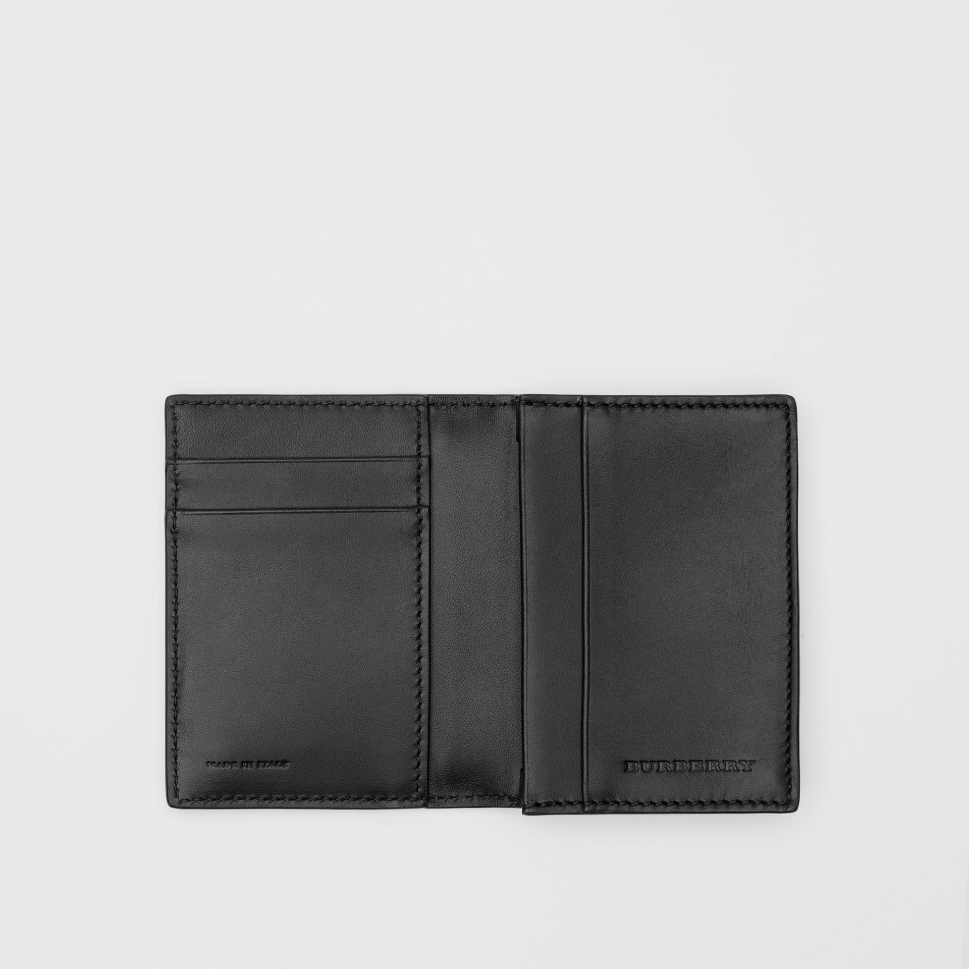 Grainy Leather Folding Card Case in Black - Men | Burberry - gallery image 2