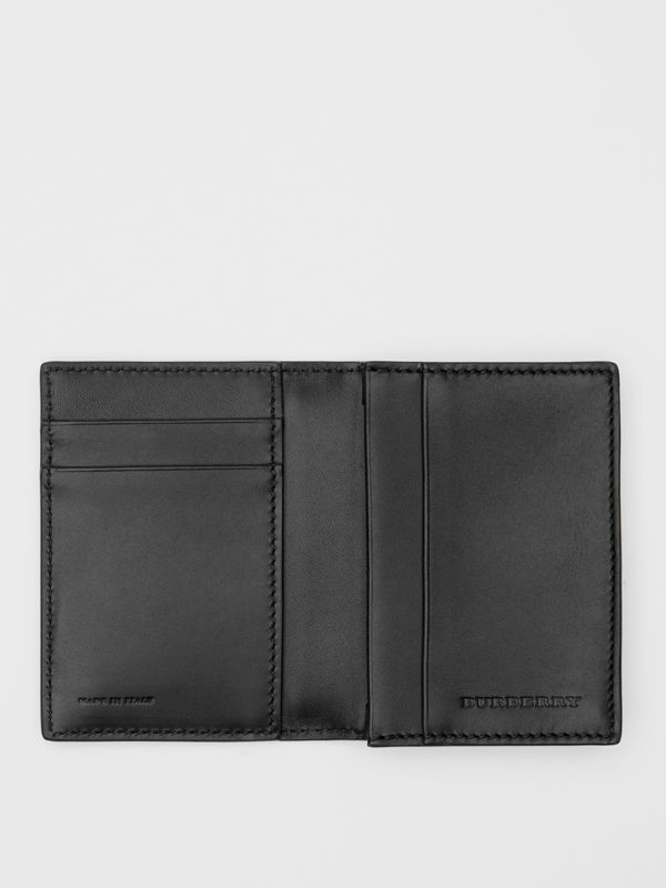 Grainy Leather Folding Card Case in Black - Men | Burberry - cell image 2