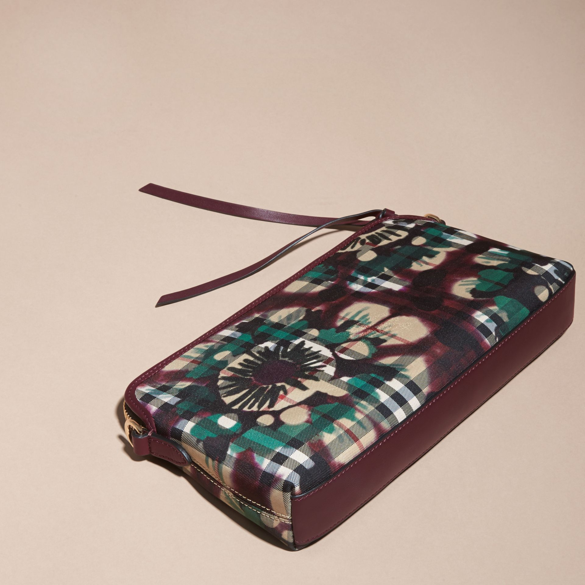 Deep claret Tie-dye Print Horseferry Check and Leather Clutch Bag Deep Claret - gallery image 4