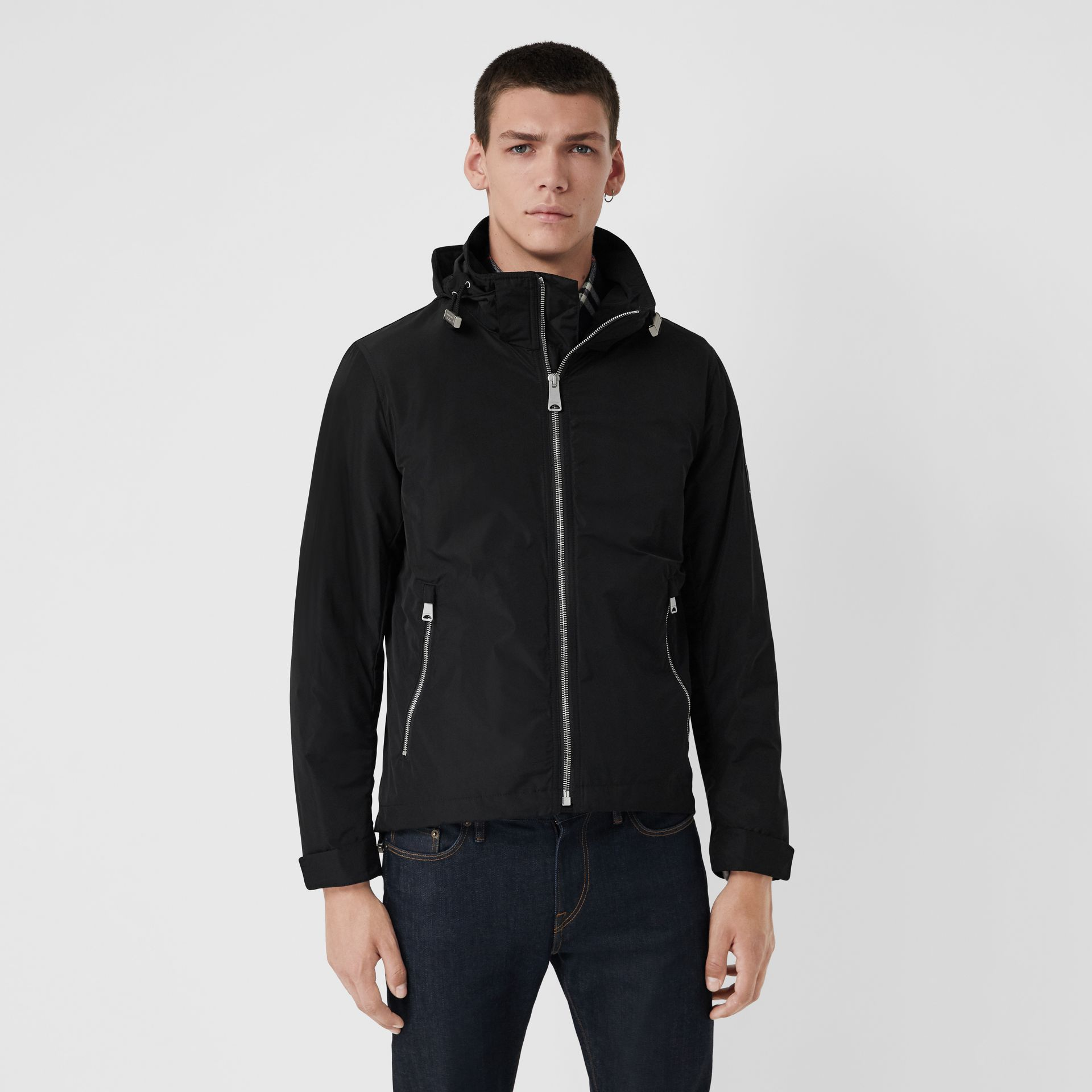 Packaway Hood Showerproof Jacket in Black - Men | Burberry Singapore - gallery image 5