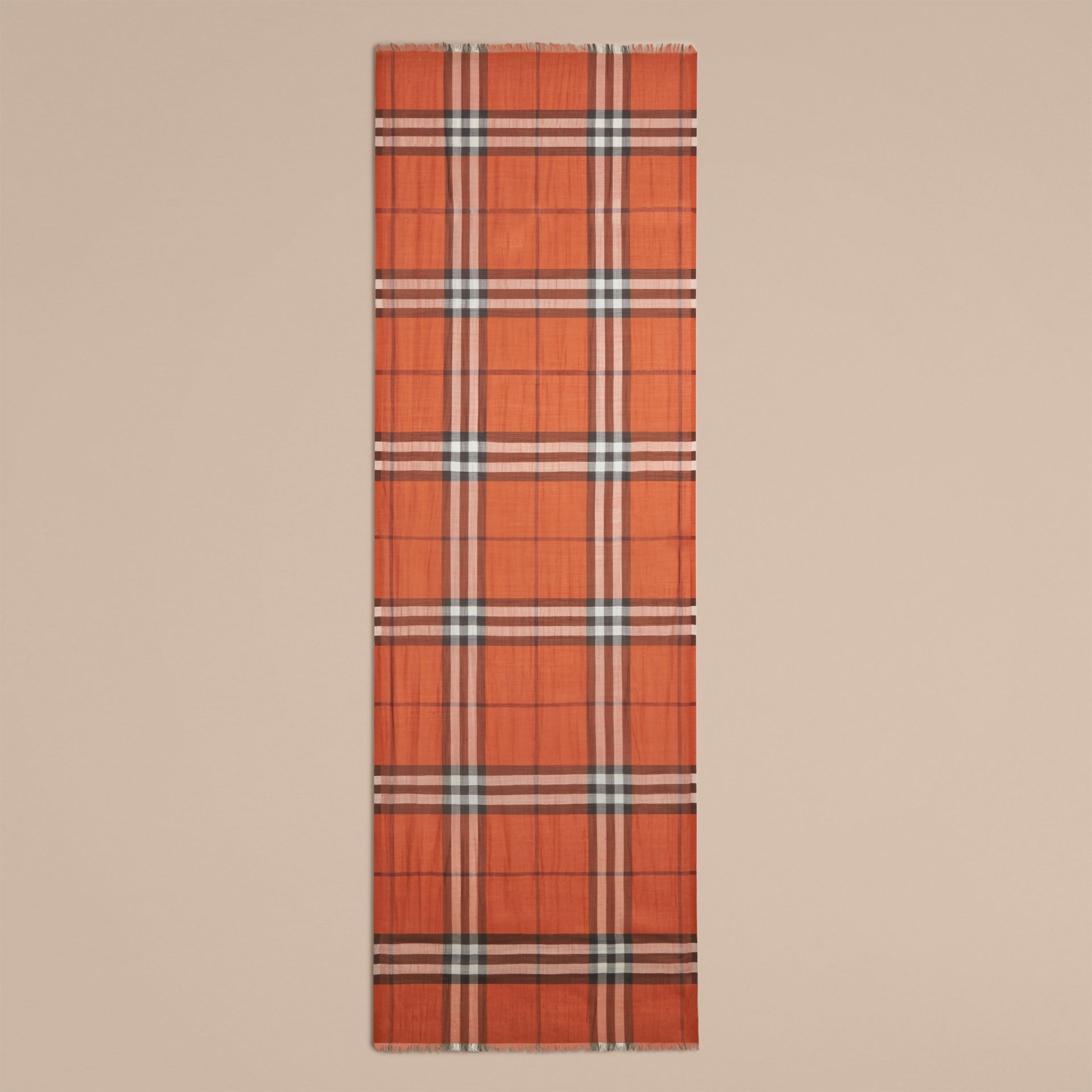 Burnt orange Lightweight Check Wool and Silk Scarf Burnt Orange - gallery image 4