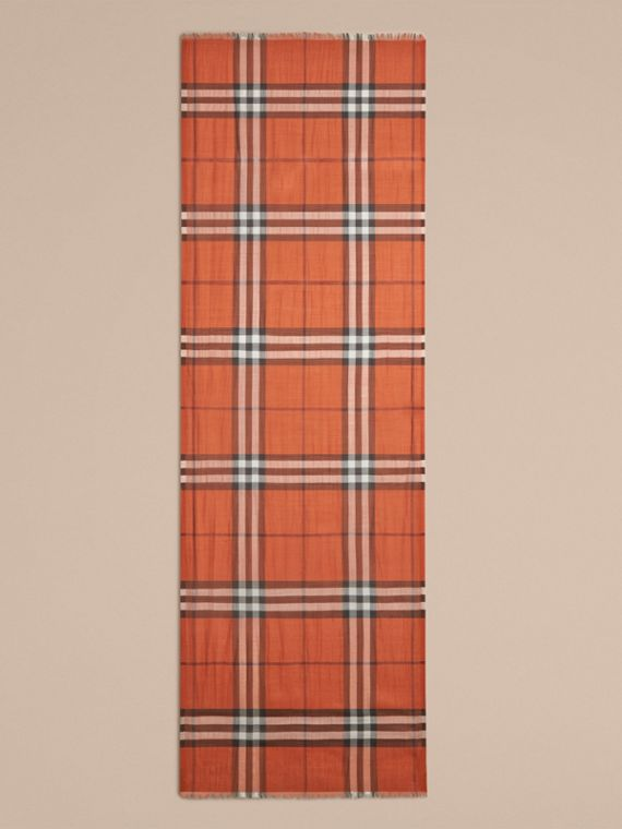 Burnt orange Lightweight Check Wool and Silk Scarf Burnt Orange - cell image 3