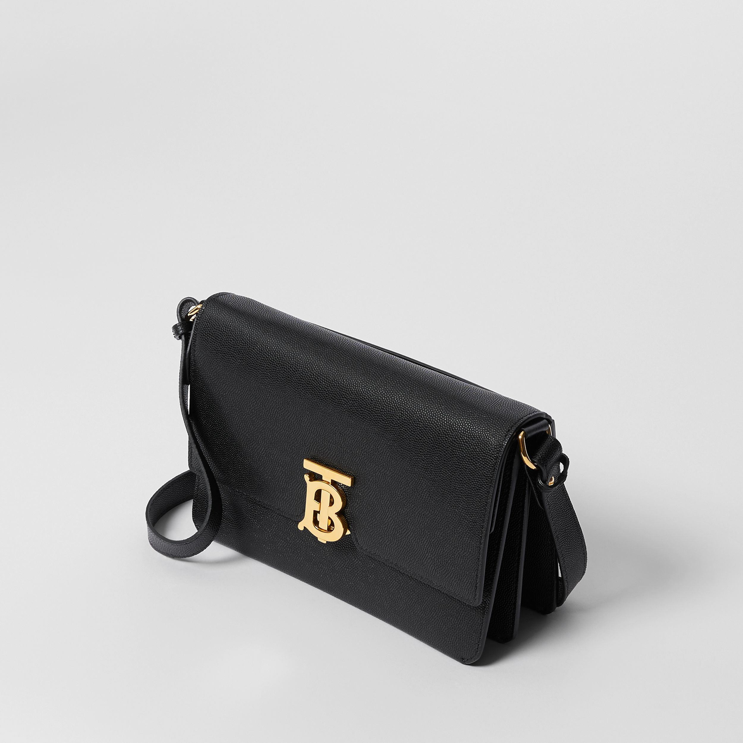 Small Monogram Motif Leather Crossbody Bag in Black - Women | Burberry - 4