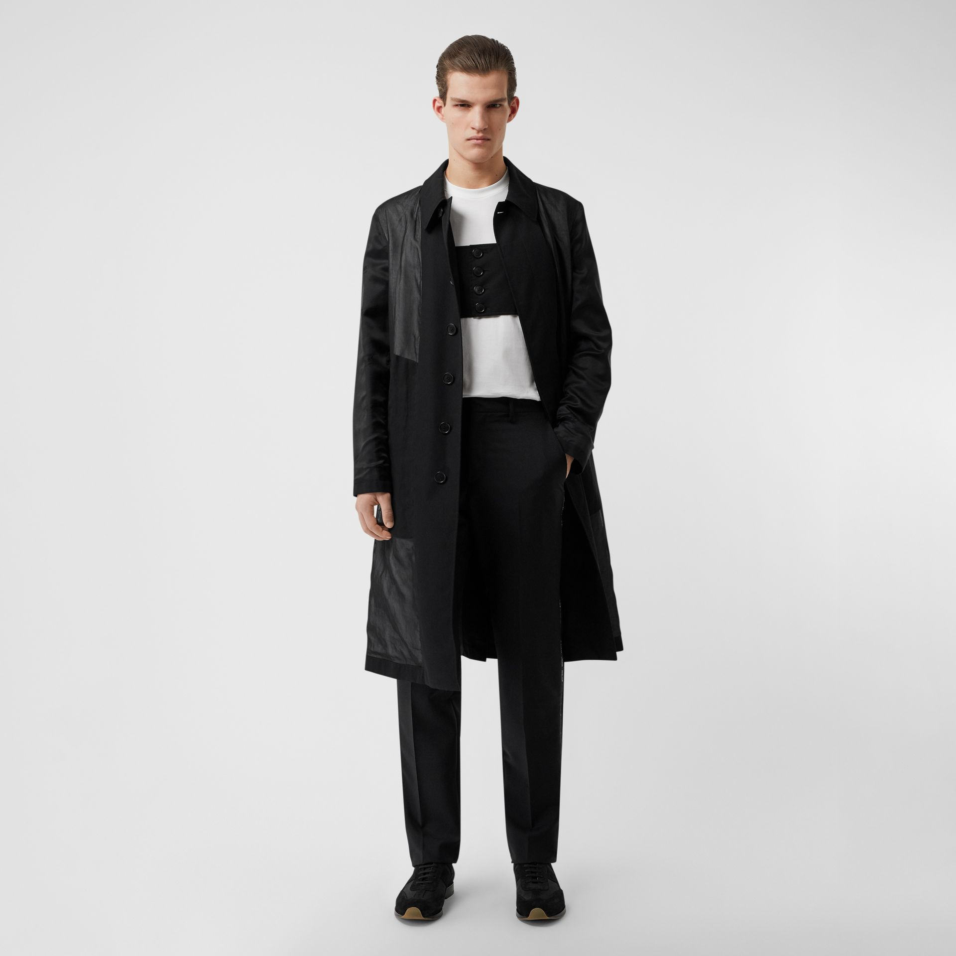 Logo Detail Panelled Cotton Gabardine Car Coat in Black - Men | Burberry - gallery image 0