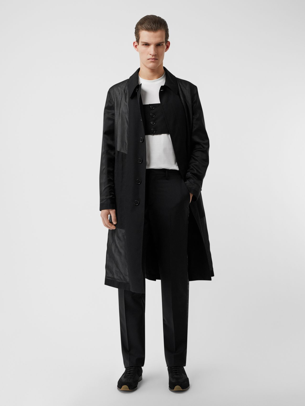 Logo Detail Panelled Cotton Gabardine Car Coat (Black)