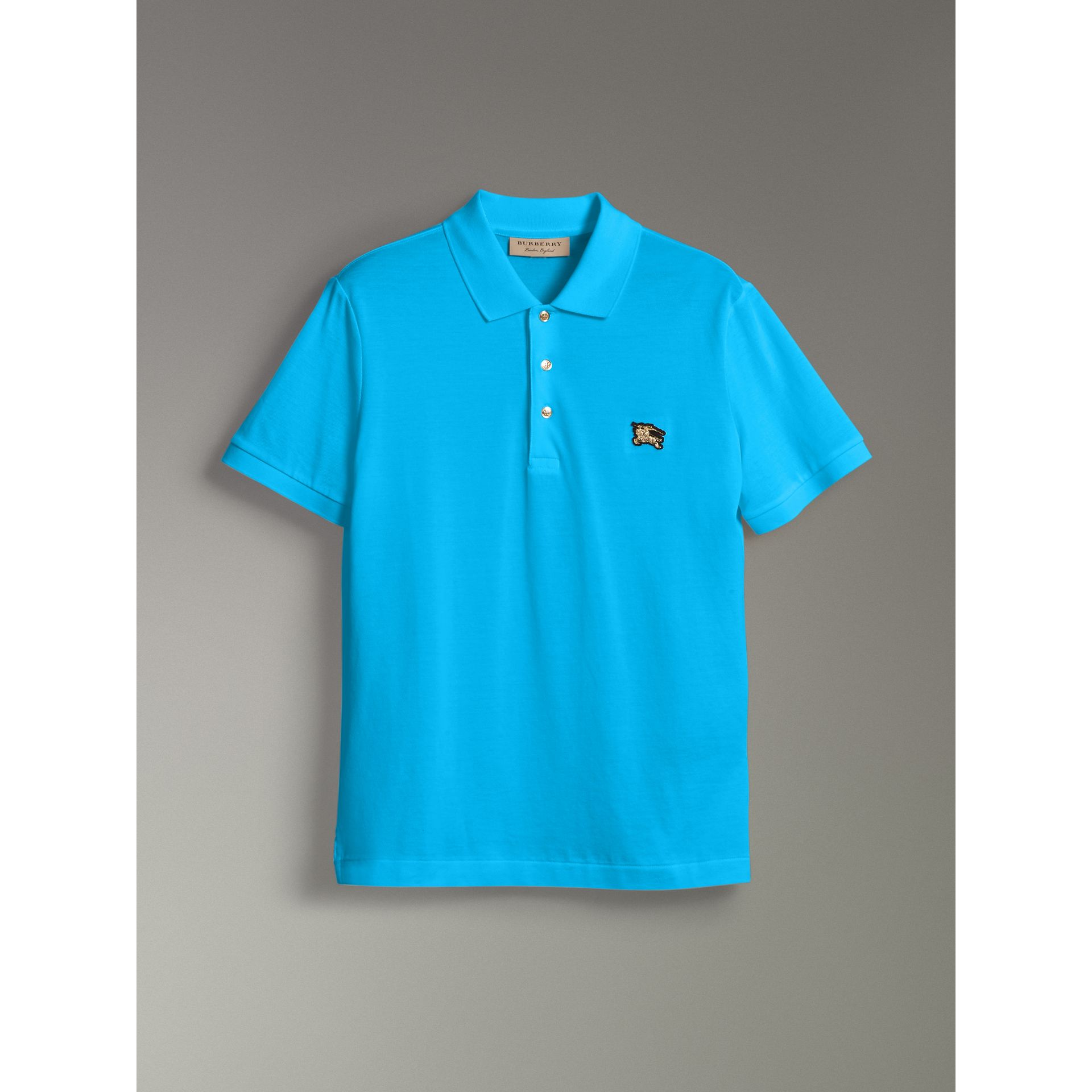 Cotton Piqué Polo Shirt in Cyan Blue - Men | Burberry - gallery image 3