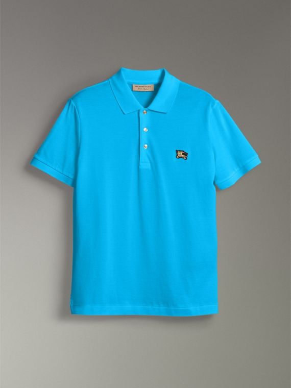 Cotton Piqué Polo Shirt in Cyan Blue - Men | Burberry - cell image 3