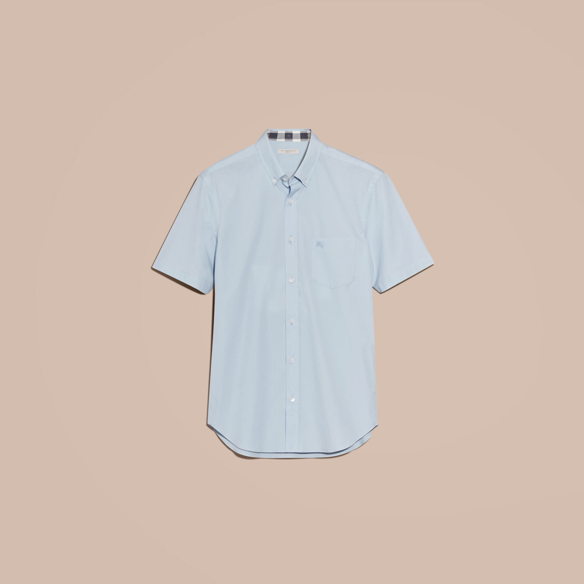 Short-sleeved Stretch Cotton Poplin Shirt in Pale Blue - Men | Burberry - gallery image 4