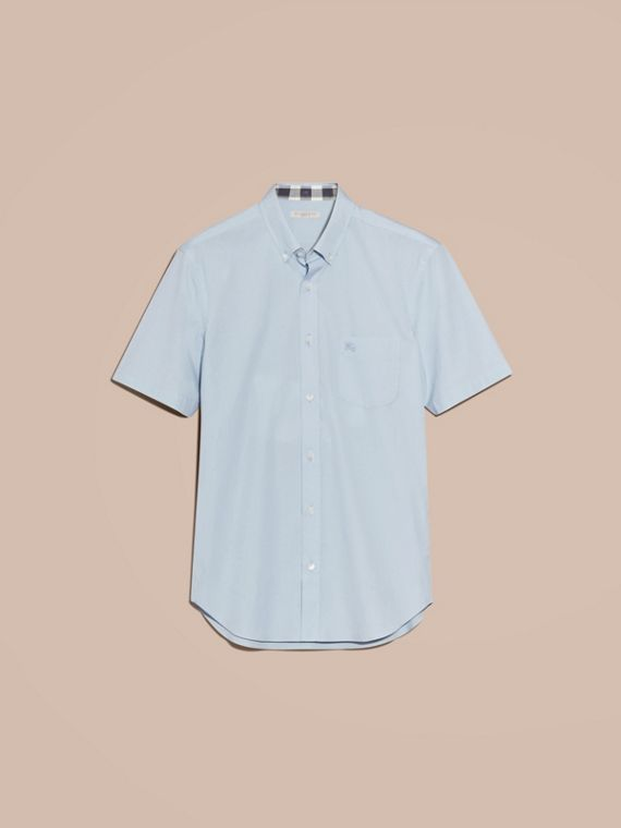 Short-sleeved Stretch Cotton Poplin Shirt in Pale Blue - Men | Burberry Hong Kong - cell image 3
