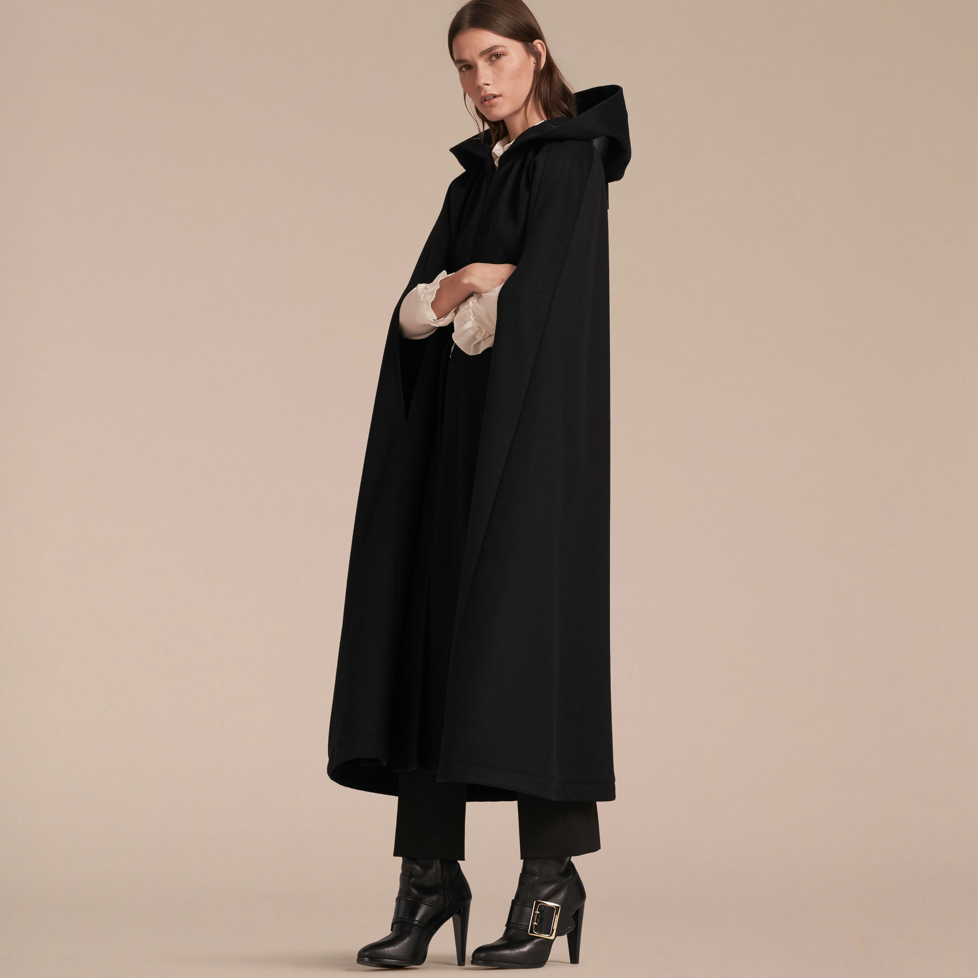 Black Hooded Wool Cashmere Cape - gallery image 6