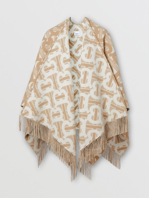 Monogram Merino Wool Cashmere Jacquard Cape in Light Sand - Women | Burberry - cell image 3
