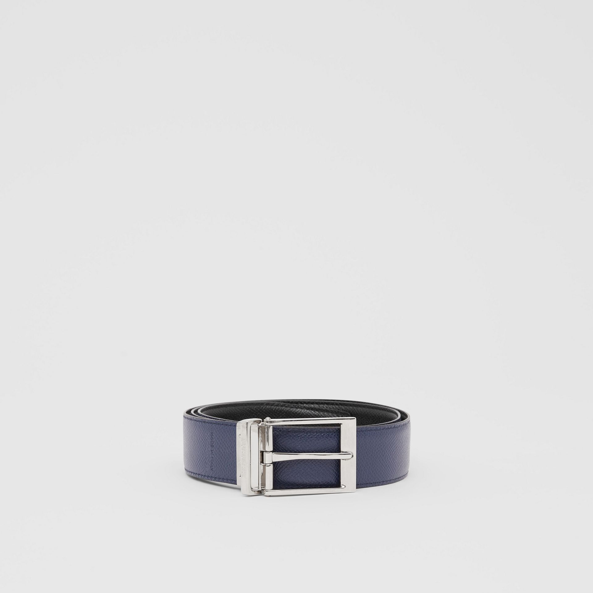 Reversible Grainy Leather Belt in Navy/black - Men | Burberry - gallery image 5