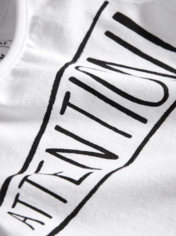 Attention Print Cotton T-shirt in White | Burberry - cell image 1