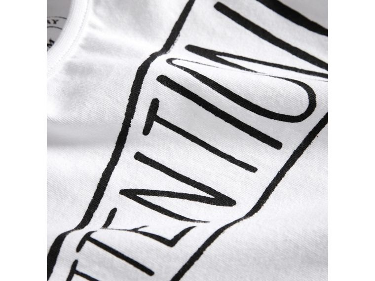 "Camiseta en algodón con motivo ""Attention"" (Blanco) 