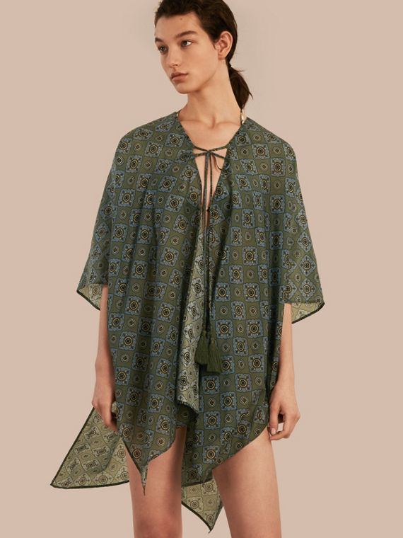 Geometric Tile Print Cotton Silk Swimwear Cover-up
