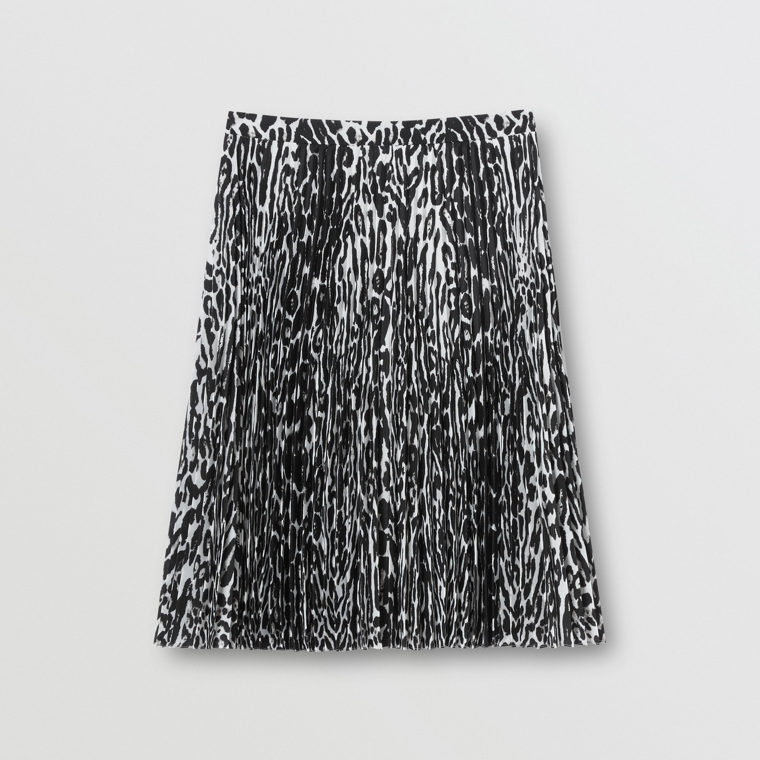 Leopard Print Pleated Skirt in Black - Women | Burberry - 4
