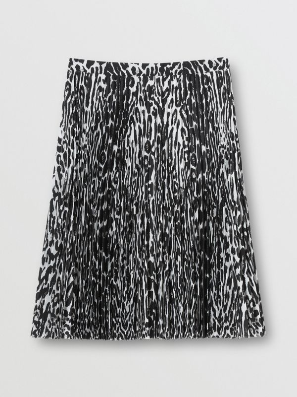Leopard Print Pleated Skirt in Black - Women | Burberry - cell image 3