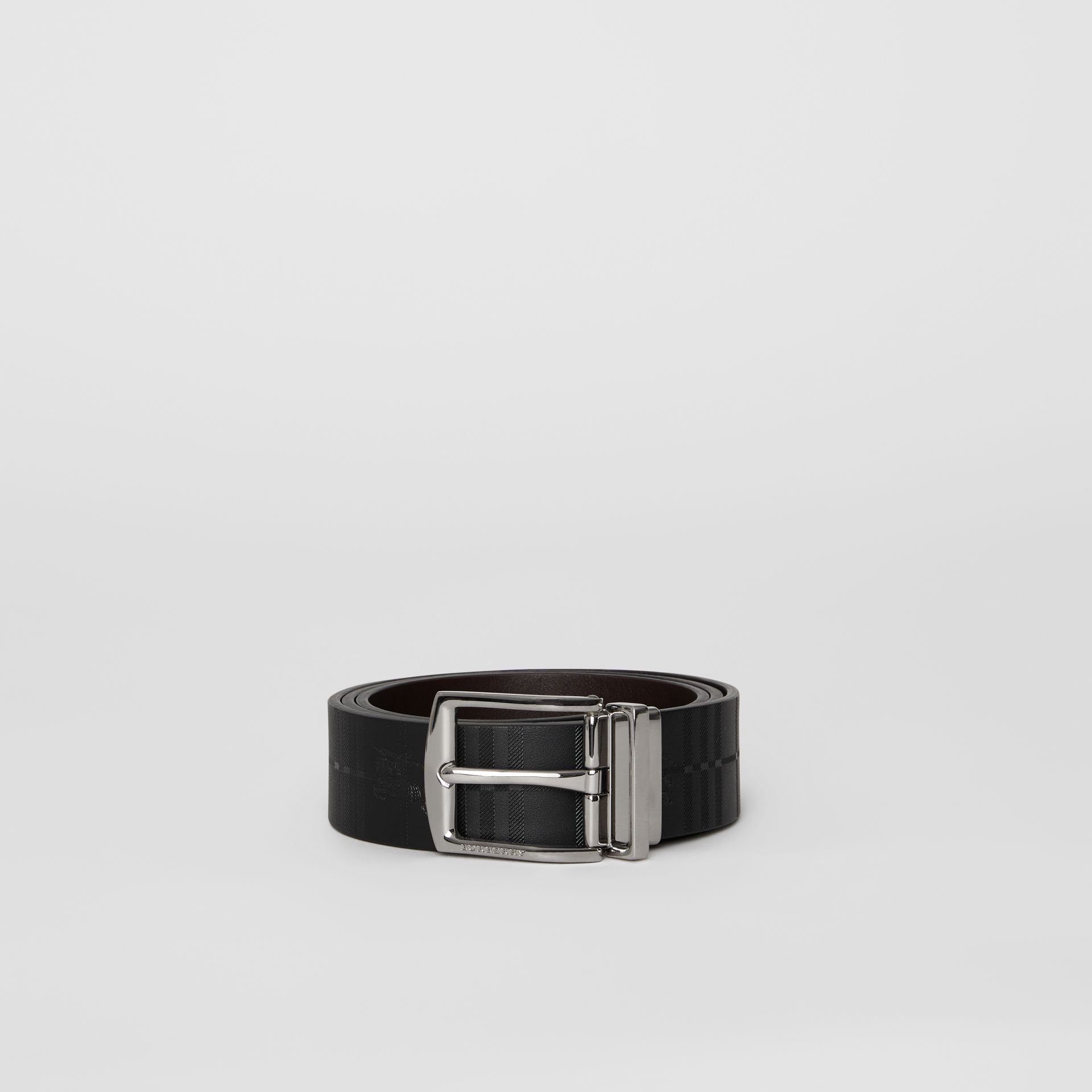 Reversible EKD Check Leather Belt in Chocolate/black - Men | Burberry - gallery image 3