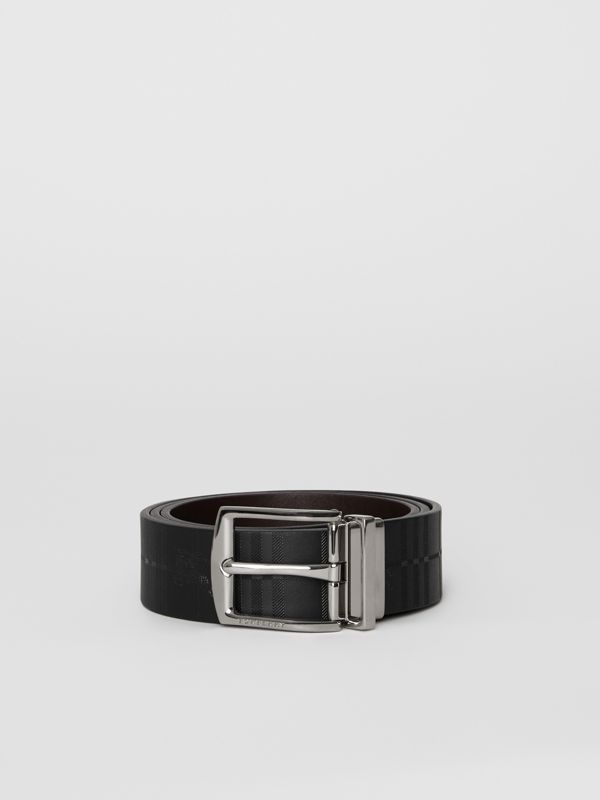 Reversible EKD Check Leather Belt in Chocolate/black - Men | Burberry - cell image 3