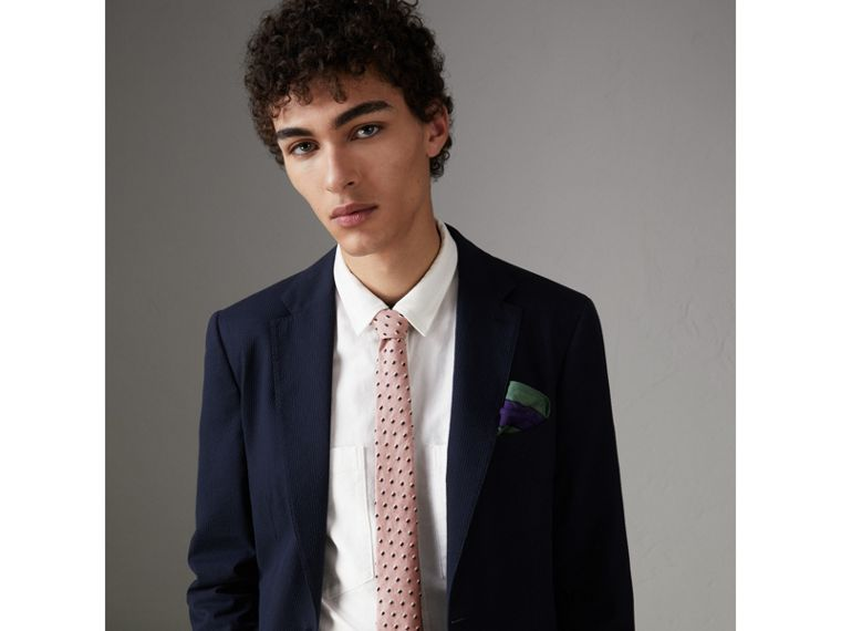 Slim Cut Chenille Dot Cotton Silk Tie in Pink Apricot - Men | Burberry Singapore - cell image 2