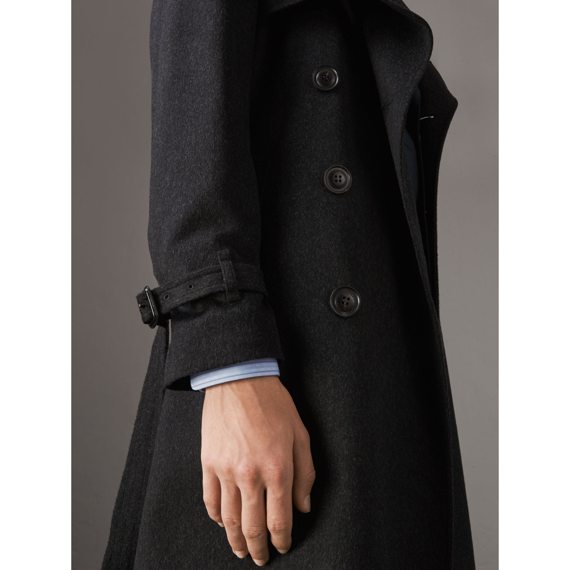 Cashmere Trench Coat in Charcoal Melange - Men | Burberry Australia - gallery image 1