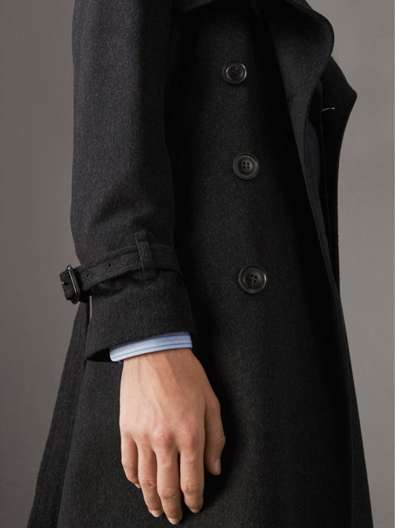 Cashmere Trench Coat in Charcoal Melange - Men | Burberry United Kingdom - cell image 1