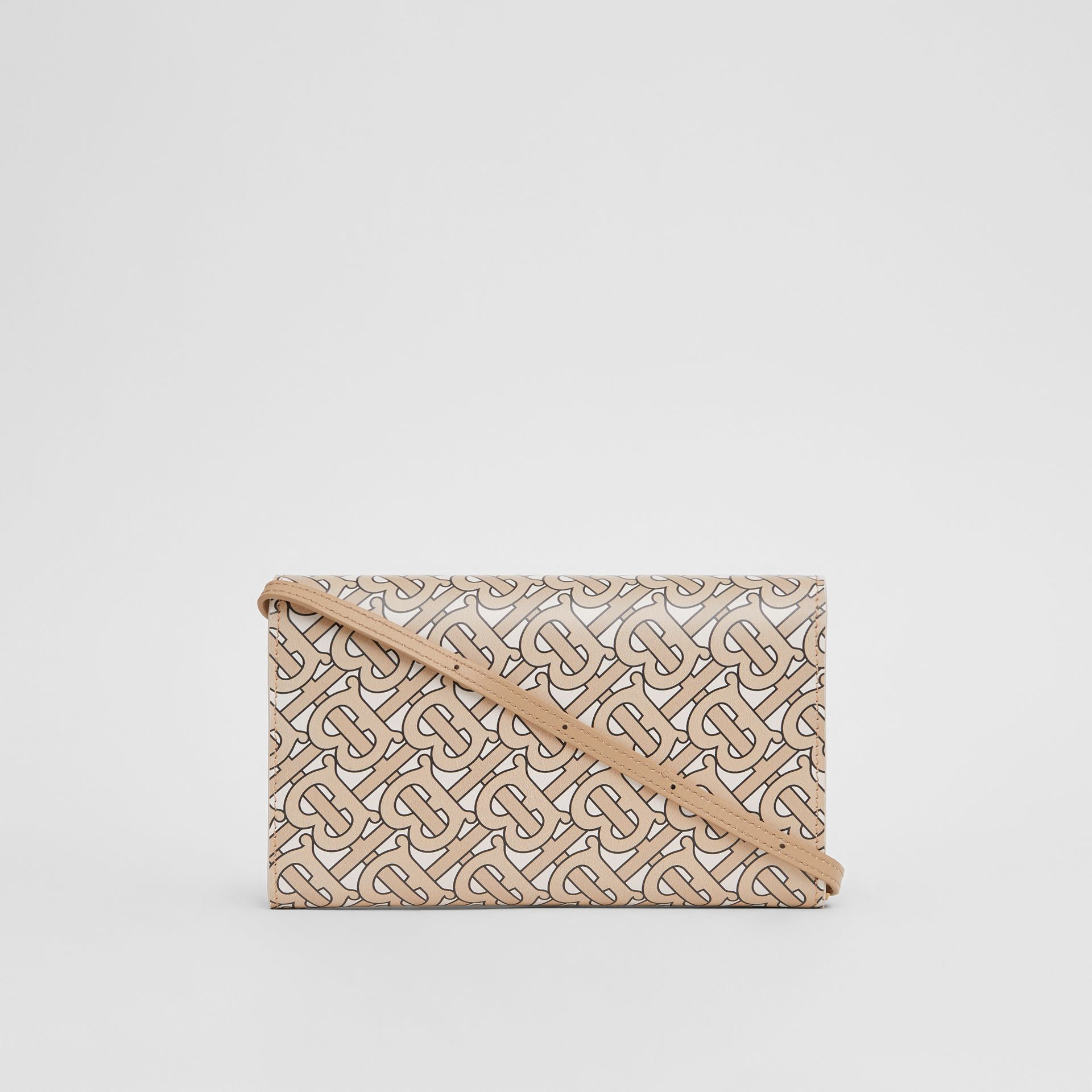 Monogram Print Leather Wallet with Detachable Strap in Beige - Women | Burberry United Kingdom - gallery image 7