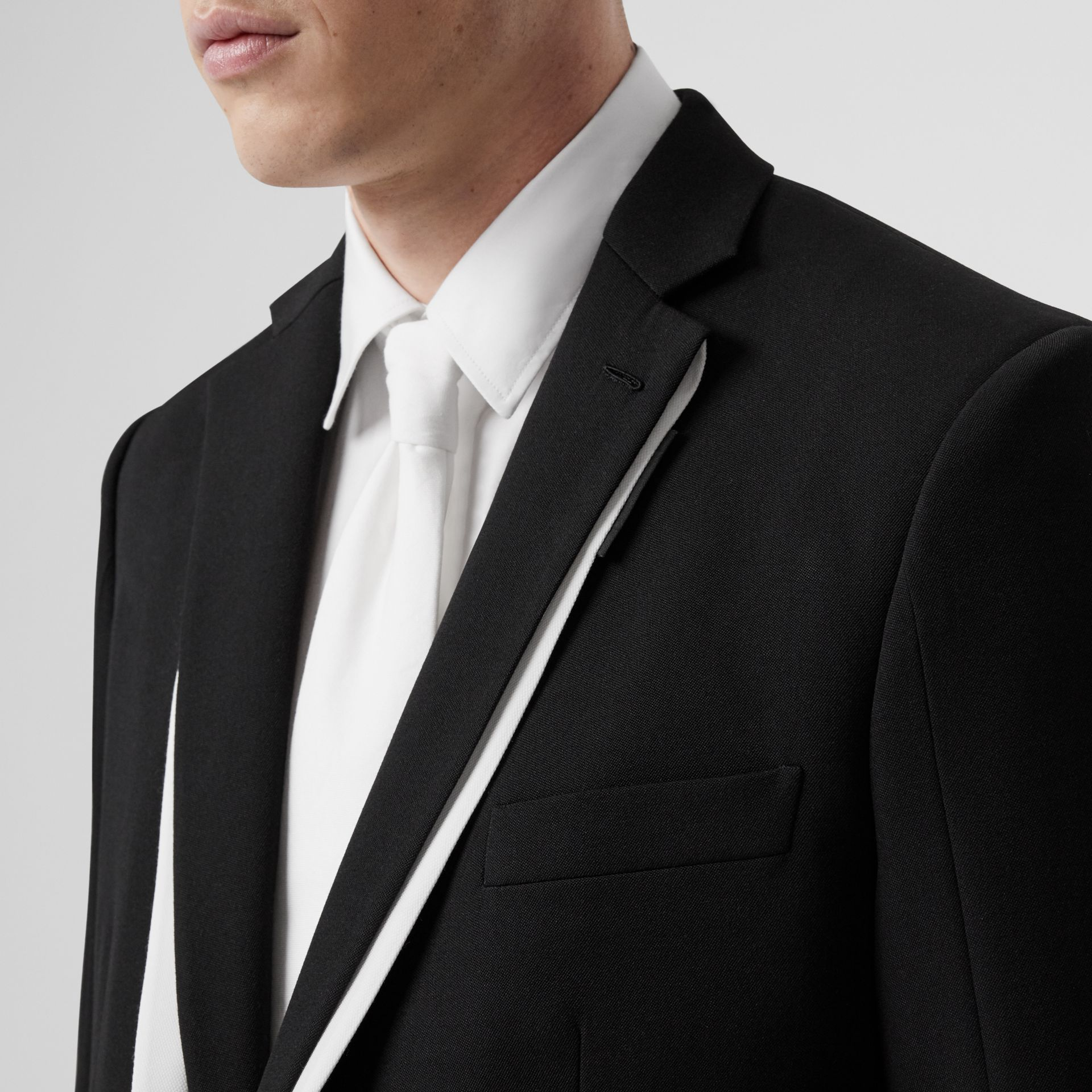 English Fit Double-front Detail Wool Tailored Jacket in Black | Burberry - gallery image 1